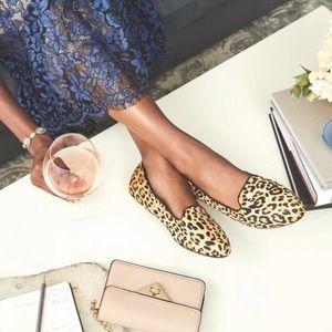 Birdies Wren Leopard Print Leather Upper Slip On Loafers
